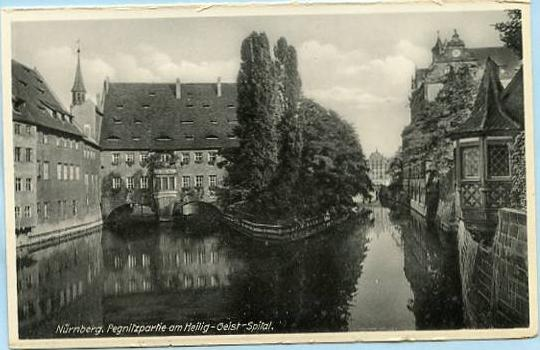 Germany - Nurnberg, The Pegnitz River splits at Holy Spirit Hospital  *RPPC