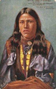 The Song of Hiawatha, Longfellow Native Americana Indian c1910s Vintage Postcard