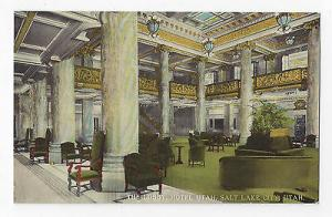 Salt Lake City Hotel Utah Interior The Lobby Vintage Curteich Postcard
