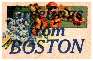 Massachusetts  LARGE LETTER  , Greetings from Boston