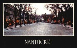 Vintage Postcard Christmas Light on Quaint Nantucket Island Massachusetts MA