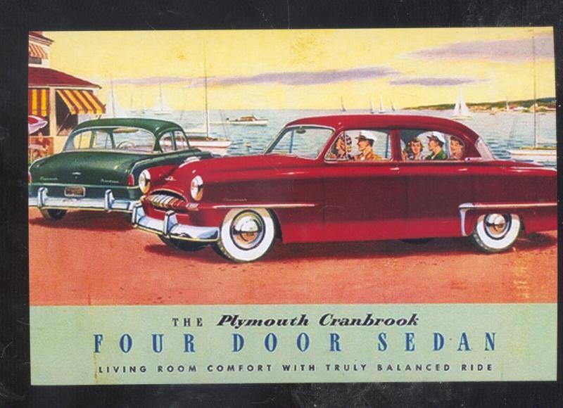 1953 PLYMOUTH CRANBROOK CAR DEALER ADVERTISING POSTCARD '53 MOPAR CARS