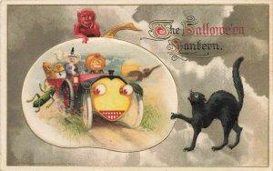 1914 Winsch Halloween Lantern Embossed Witch Live Car Black Cat Postcard