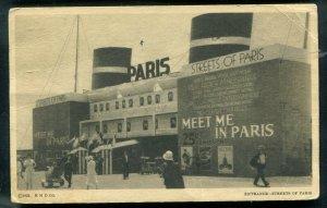 Chicago 1933 World's Fair Cancel franked w/scott 728 Meet me in Paris postcard