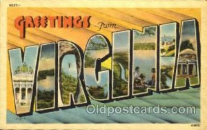 Greetings From Virginia, USA Large Letter Town 1940 light indentation top edg...