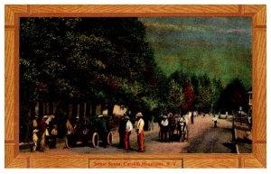 New York    Catskill   Mtns. Street Scene , Wood Border
