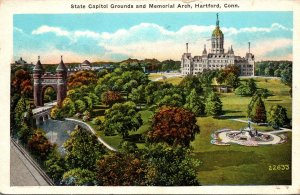 Connecticut Hartford State Capitol Grounds and Memorial Arch 1928