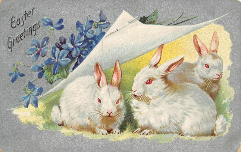 Easter~Furry White Rabbits Under Straight Pin Peelback~Silver Back~Embossed~TUCK