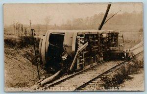 Postcard Wrecked Crestline Car Train Wreck Nov 12 1907 RPPC Real Photo T4