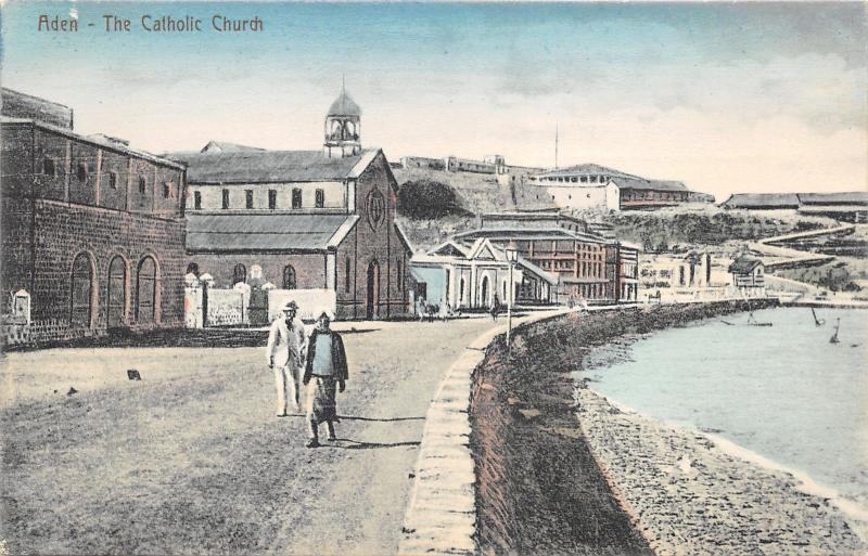 Aden Yemen~Catholic Church~Men Walk on Road Along Water~c1910 Postcard