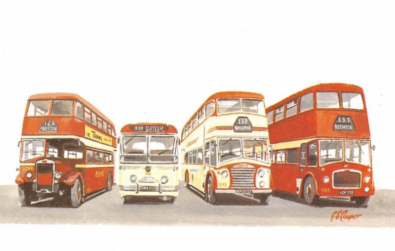 Miniature Art Postcard Ribble Buses, Leyland TD5, Leyland Royal Tiger, PD2, PD3