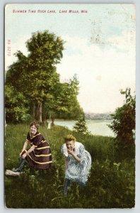Lake Mills Wisconsin~Girls Having Fun @ Play~Rock Lake in the Summertime~1908