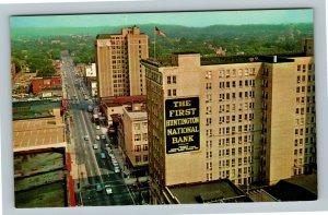 Huntington WV, Aerial Fourth Avenue Bank Building, Chrome West Virginia Postcard