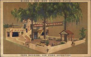 San Diego CA Expo Food Building GLOBE MILLS BEN HUR ADVERTISING Postcard
