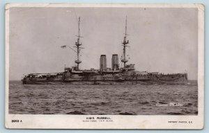 Postcard British Navy Ship HMS Russell Battleship RPPC Real Photo V11