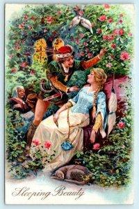 Fairy Tale SLEEPING BEAUTY Embossed PFB ca 1910s Fantasy Postcard