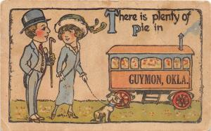 D87/ Guymon Oklahoma Ok Pennant Postcard 1916 Train Car Woman Man Plenty of Pie