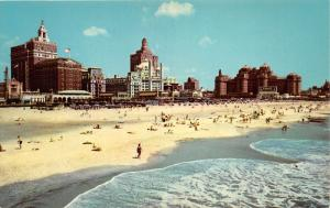 Atlantic City New Jersey~Beach & Central Skyline~Sunbathers~Crashing Waves~1958