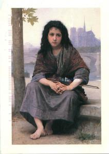 Art Painting of Bouguereau French Woman With Violin MN Arts Postcard # 8164
