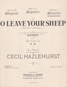 O Leave Your Sheep Cecil Hazlehurst Olde Sheet Music