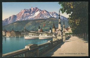 Switzerland Schweizerhofquai und Pilatus Alps Harbor Ships E. Goetz Postcard