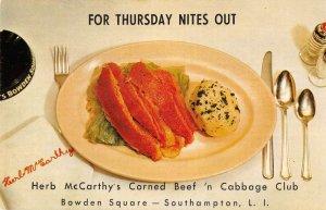 Southampton L.I. New York Herb McCarthy Corned Beef & Cabbage Club pc ZE686269