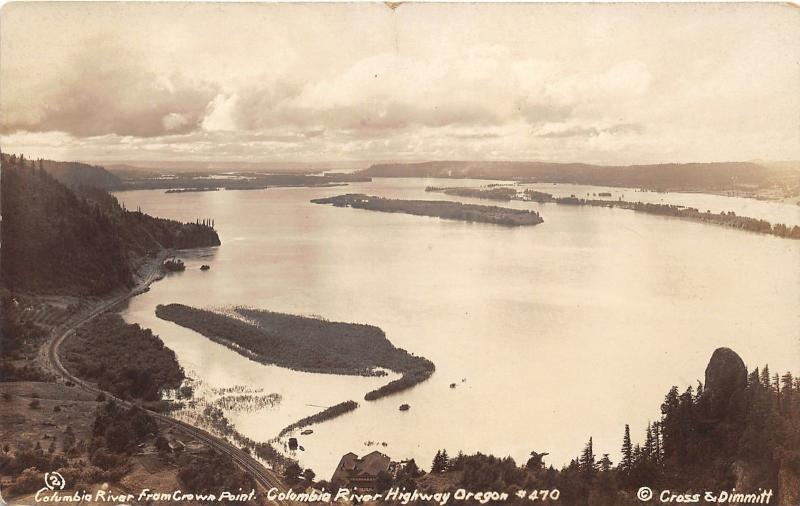 Oregon~Columbia River Highway @ Crown Point~Cross & Dimmitt 1920s RPPC Postcard