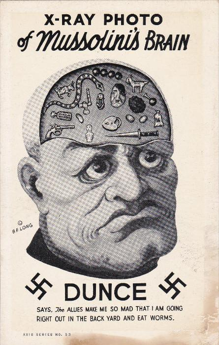 War 1939-45   X-Ray photo of Mussolini's brain , Anti-Axis