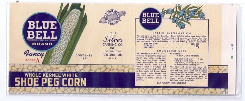 Blue Bell Shoe Peg Corn Colora MD Vintage Can Label