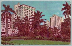 Miami Florida~Bayfront Park Along Biscayne Boulevard~Hotels~Vintage Postcard