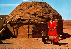Arizona Navajo Indian Woman and Child In Front Of Typical Indian Hogan