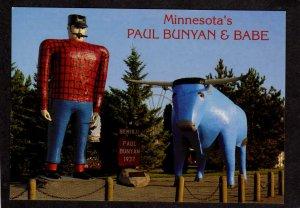 MN Paul Bunyan Blue Ox Lake Bemidji Lake Minnesota Postcard Roadside America