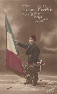 RP: Boy holding a Franch Flag , WWI