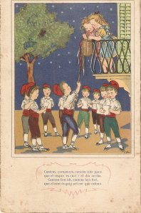 Catalan boys singing to girl in balcony Vintage Spanish postcard 1040s