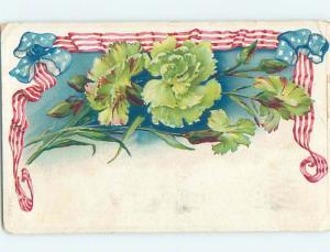 Edge Wear 1909 patriotic NICE USA FLAG RIBBON BORDER WITH GREEN FLOWERS HL6506