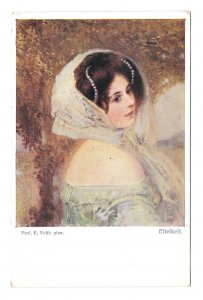Eitelkeit Beautiful Womanm Vanity Eduard Veith Artist Austris BKWI 884a Postcard