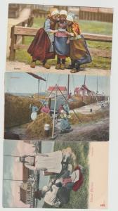 NETHERLANDS Holland Marken Lot of 3 antique postcards children Dutch