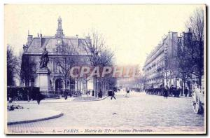 Old Postcard From Paris City Hall and 11th avenue Parmentier