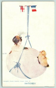 Raphael Kirchner~Hatched! Woman & Duck in Egg~British French Flags~WWI Patriotic