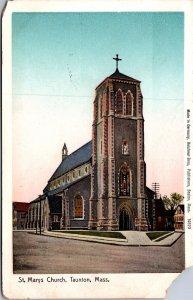 St. Marys Church, taunton, M.A.  vtg postcard