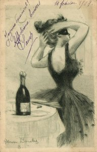 PC CPA ARTIST SIGNED, HENRI BOUTET, LADY & CHAMPAGNE, Vintage Postcard (b25545)