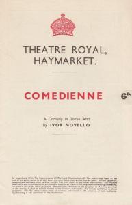 Comedienne Lilian Braithwaite Comedy Haymarket Theatre Programme