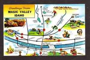 ID Greetings From MAGIC VALLEY IDAHO State Map Postcard