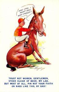 Comic - Horse and Jockey  *Artist Signed: Taylor