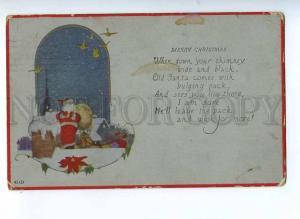 190247 Merry X-MAS Christmas SANTA CLAUS on Roof Vintage PC