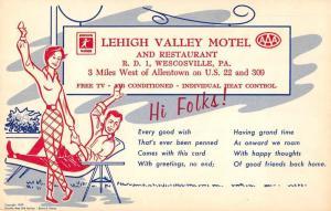 Wescosville Pennsylvania Lehigh Valley Motel Advertising Antique Postcard J75264