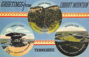 Lookout Mountain, Tennessee Greetings Umbrella Rock, Moccasin Bend 1942 Postcard