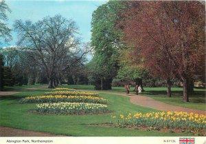 Postcard United Kingdom of Great Britain abington park northampton park flowers