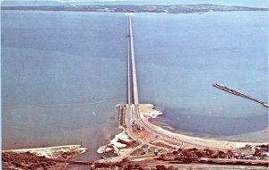 Pensacola Bay Bridge Florida Postcard 1960's Aerial View Chrome MP