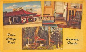 Sarasota FL Fred's Cottage Park Gas Station Linen Postcard